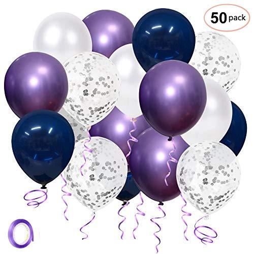SKYIOL Helium Luftballons Geburtstag Hochzeit Blau Lila Weiß Silber Konfetti Metallic Latex Ballons mit 10m Band als Party Feier Dekorationen Kinder Baby-Duschen Abschluss, 50 Stück 30cm