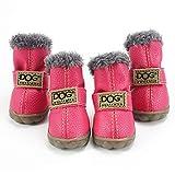 HIOD Zapatos de Invierno para Perros Botas de Nieve Cálidas Piel Impermeable Perros Pequeños Algodón Antideslizante para Mascotas,Pink,2#