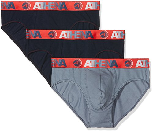 ATHENA Endurance 24H Slip, Multicolore (Marine/Gris/Marine), Taille Fabricant: 3 (Lot de 3) Homme