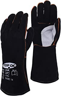 TOPDC Welding Gloves Heat Resistant, Fireproof Gloves, for Forge, Fireplace, Welder, Large