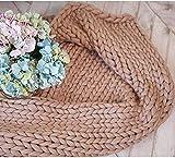 ASY Manta de punto gruesa hecha a mano para tejer, manta gigante, suave, gruesa, supersuave, manta para sofá, manta para mascotas, decoración de dormitorio, color caqui, 150 x 150 cm