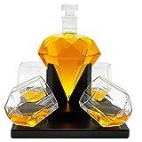 Whisiskey® Whiskey Karaffe – Globus - Whisky Karaffe Set - 900 ml - Geschenk für Männer und Frauen - Inkl. 4 Whisky Gläser, 9 Whisky-Steine und Geschenktülle