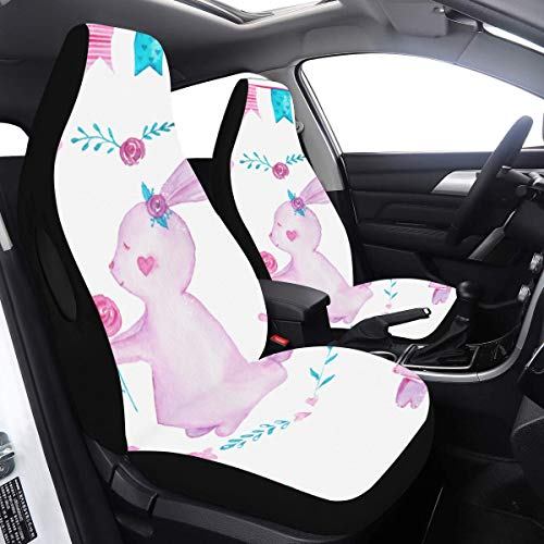 Car Cover for Kids Rabbit with Bunting Flag Seat Cover Protector 2 Pcs Universal Fit Airbag Compatible for for Car SUV Auto Truck Luxury Seat Covers