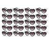 10/20 Packs Wholesale Neon Colors Heart Retro Style Party Favors Sunglasses (20 Packs Black)