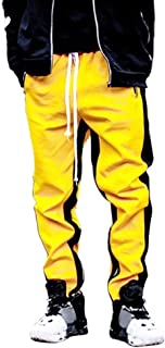 Unparalleled beauty Mens Stripe Track Pants Skinny Fit Stretch Elastic Slim Trouser Big and Tall