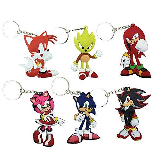 MIAOGE Giocattoli sonici 6 Pz / Set Anime Sonic Partie Rose Knuckles Shadow Sticks Code Sonic Catena Pendenti Portachiavi Giocattoli Portachiavi