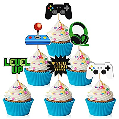 MIAHART 60 Pcs Video Game Themes Cake Toppers 6 Styles Cupcake Picks Decorations for Kids Gaming Birthday Fans Party Favors by