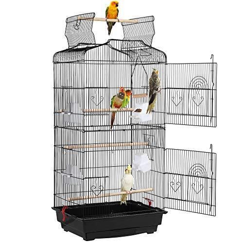 Yaheetech Gabbia Voliera per Uccelli Pappagalli Inseparabili Parrocchetti in Metallo con Tetto Apribile Molte Porte e Posatoi 46 x 36 x 104 cm Nera