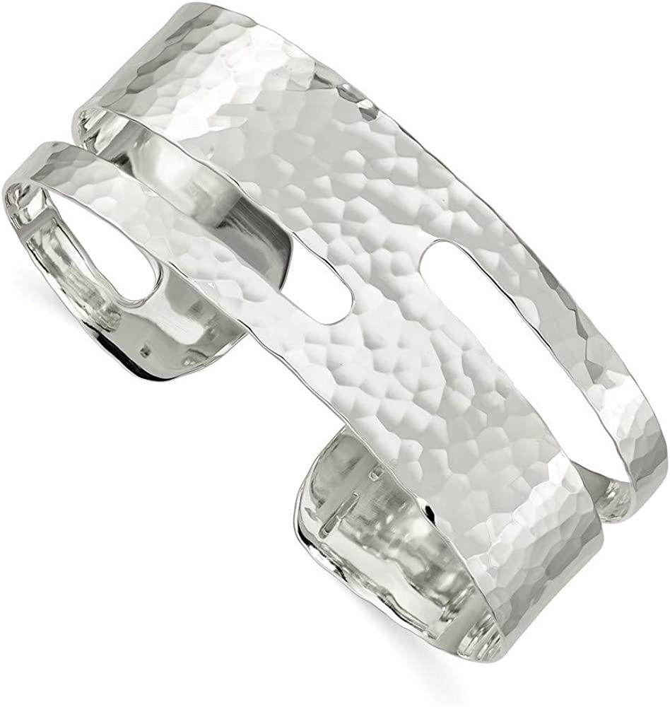 925 Sterling Silver Solid Hammered Cuff Bangle Bracelet Expandab