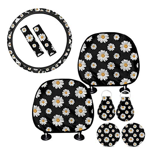 BIGCARJOB 9pcs Sugar Skull Car Wheel Accessories for Women Men with 1pc Sunflower Steering Wheel Cover, 2pc Headrest Cover,2pc Keyring, 2Pcs Car Cup Coaster,2Pcs Seat Belt Cover