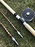 zhurod New Bamboo Silmon Fly Fishing Rod 11' #4,3 Piece.with Agate Guides.
