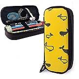 Bolsas de almacenamiento de bolsas de cuero de PU de ballena amarilla y negra Bolsas de almacenamiento portátiles para estudiantes Bolsas de oficina Bolsas con cremallera Maquillaje