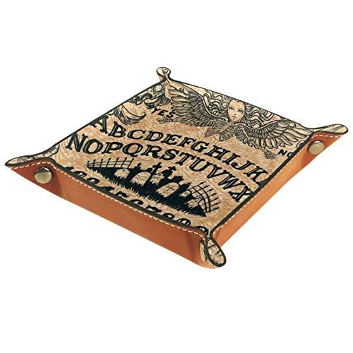 Caja de almacenamiento pequeña, bandeja de valet para hombre,Patrón de estilo africano,Organizador de cuero para llaves de caja de monedas