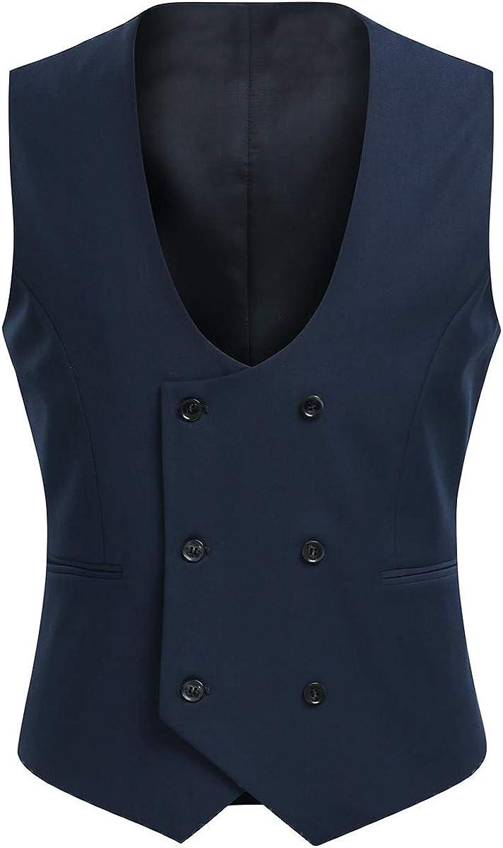 1920s Style Mens Vests Cloudstyle Mens Vest Fashion Slim Fit Double-Breasted Solid Vest  AT vintagedancer.com