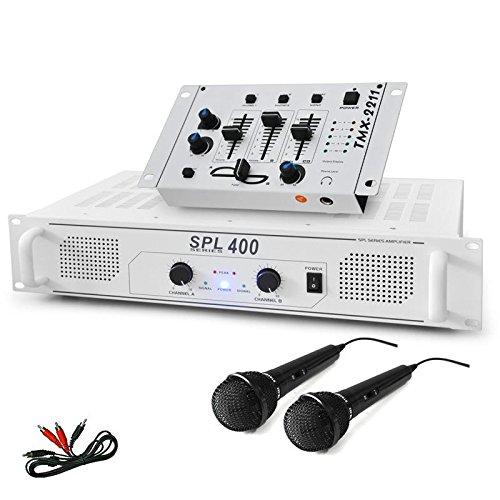 DJ SET DJ-94 PA Karaoke Set für Anfänger 400W PA-Verstärker + DJ-Mixer Mischpult und 2 Mikrofone (AUX-IN für externe Quellen, Lautsprecher-Anschlüsse, inkl. Cinch-Kabel) weiß