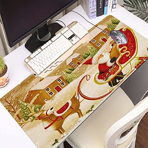 Desk Pad Large Gaming Laptop Computer Mouse Mat for Desks Christmas Xmas Santa Claus Reindeer Sleigh at Fantasy Winter Forest New Year Holiday Non-Slip Rubber Base