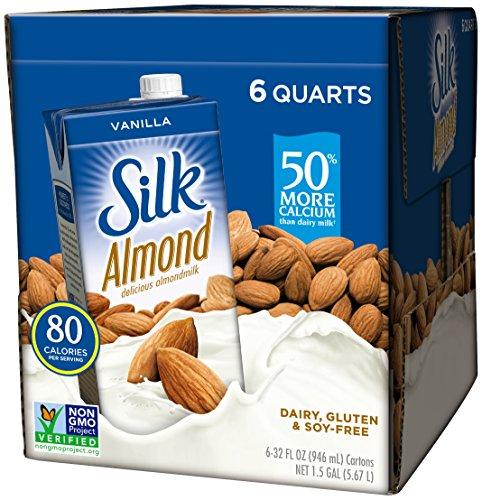 (Pack of 6) Silk Shelf-Stable Vanilla Almond Milk, 1 Quart