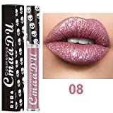 Weant Rouge à Lèvres, Brillant Longue Durée Tenue Liquide Brillant à Lèvres Waterproof Shimmer Lip Gloss Classique Beauté Brillant à Lèvres Métallique