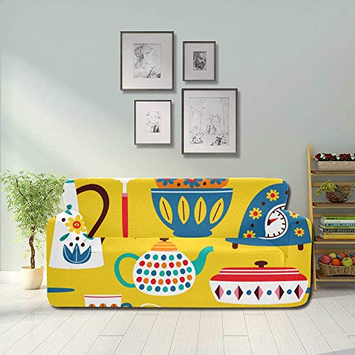 JEOLVP Beautiful Retro Cute Kettle Flowers Couch Sofa Cover Sofa Stretch Slipcover Fitted Furniture Protector 2&3 Seat Sofas