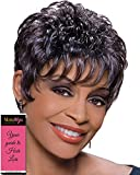Viola Wig Color 1B - Foxy Silver Wigs Short Pixie Cut Chucky Curls Teased African American Lightweight Average Cap Bundle w/MaxWigs Hairloss Booklet