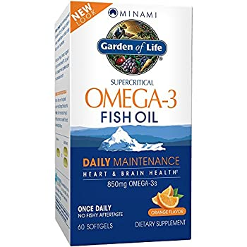 Garden of Life EPA/DHA Omega 3 Fish Oil - Minami Natural Brain Function Heart and Mood Supplement 60 Softgels