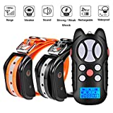 Dog Training Bark Collar for 2 dogs over 10lb 3300ft Waterproof Adjustable and Rechargeable Electric Dog Shock Collar with Remote,4 Modes for Small Medium Large Dog