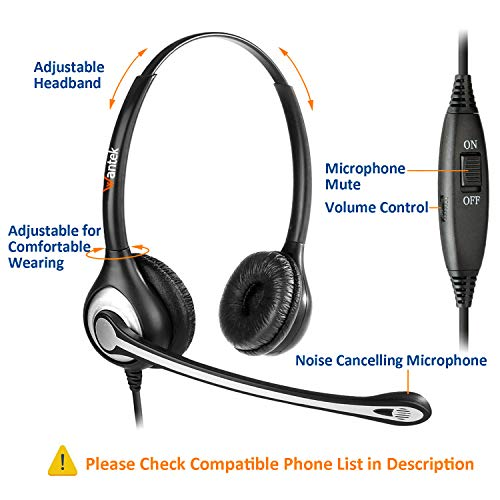 Wantek Telephone Headset with Microphone Noise Cancelling, Office Phone Headsets 2.5mm Jack for Panasonic AT&T ML17929…