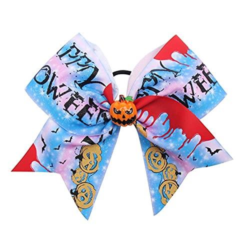 DUO ER 7 Pulgadas Halloween Aleme Bow Glitter Calabaza Impresa Cinta Hecho A Mano Hecho A Mano Alquiler Cabello Chicas Halloween Fiesta Accesorios for el Cabello (Color : 16)