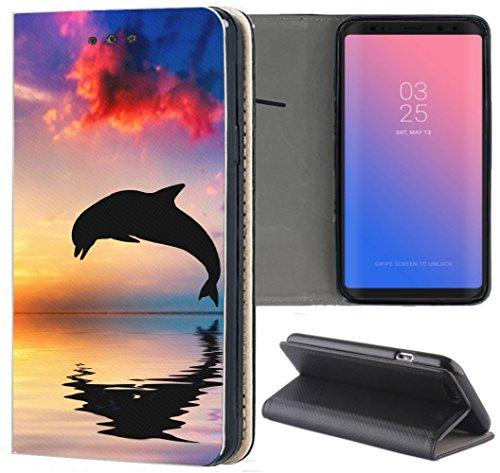 Samsung Galaxy S4 / S4 Neo Hülle Premium Smart Einseitig Flipcover Hülle Samsung S4 / S4 Neo Flip Case Handyhülle Samsung S4 Motiv (1543 Delfin Delphine Meer Cartoon Sonne)