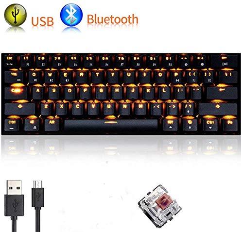 UrChoiceLtd Teclado Mecánico, rk61 con cable/inalámbrico Bluetooth teclado 61 teclas LED Impermeable Teclado para juegos con teclas Anti-Ghosting y clave cap extractor batería de litio recargable