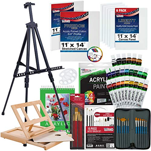 US Art Supply 72-Piece Deluxe Acrylic Painting Set with Aluminum Floor Easel Table Easel 24 Acrylic Colors Acrylic Painting Pad Stretched Canvas Panels Brushes Everything to Get You Started
