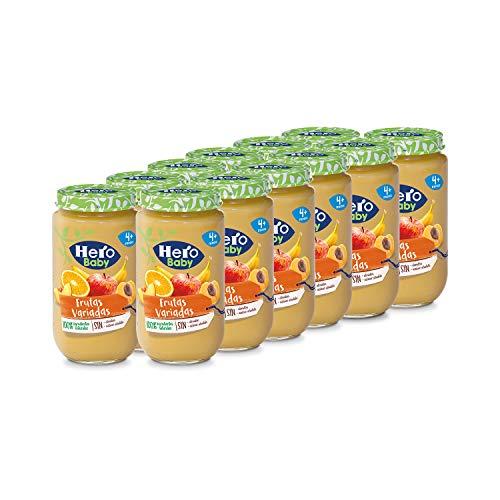 Hero Baby - Tarrito de Frutas Variadas, Ingredientes Naturales, para Bebés a Partir de los 4 Meses - Pack de 12 x 235 g