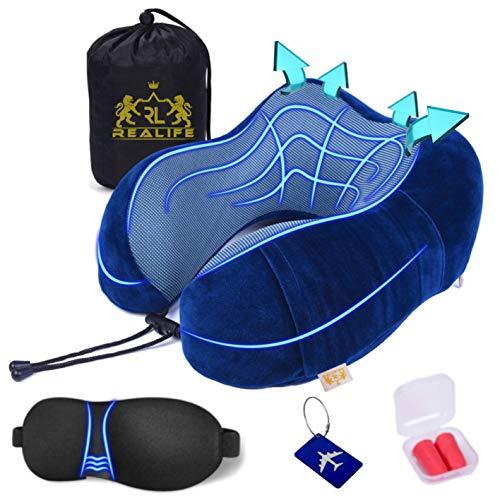 Realife【Kit 5Pz】Cuscino Da Viaggio In Memory Foam +4 Omaggi. Cuscino Cervicale Da Viaggio Tightness Traspirante Sfoderabile Regolabile Con Tasca Cellulare Per Aereo Auto Casa Divano Ufficio (Blue)