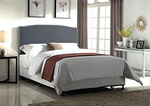 Container Furniture Direct Haven Collection Modern Upholstered Linen Fabric Bedroom Headboard Nailhead Trim Dark Grey