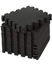 edukit EVA gym skummatta; 24 delar och 22 kanter; 30,5 x 30,5 cm; svart; glidfritt sammankopplade pussel golvplattor för hem, träning, garage