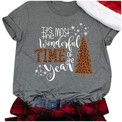 Auifor vrouwen Kerstmis Santa korte mouwen O-hals T-shirt tuniek blouse tops