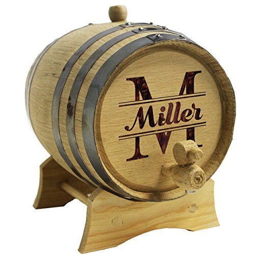 The Wedding Party Store Custom Engraved Oak Whiskey, Bourbon or Wine Barrel - Personalized with WPS Designs (3 Liter Barrel)