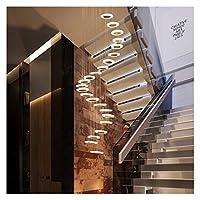 シャンデリア スパイラル階段ロフトモダンな照明器具の高天井ヴィラ階段ラウンド吊りペンダントサスペンションランプのためのLEDシャンデリア (Body Color : 28 head, Emitting Color : Colod Light)