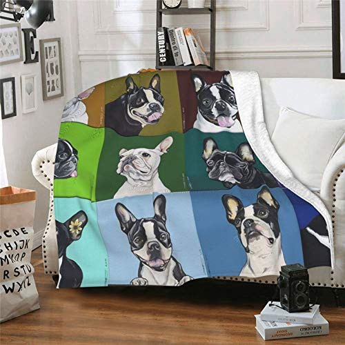 SWEET TANG Soft Cozy French Bulldog Pet Throw Wrap Cover, Sherpa Plus Velvet Travel Blankets Throw Wearable Cuddle, Blanket for Bed Couch Sofa, Kids 40x50 inch