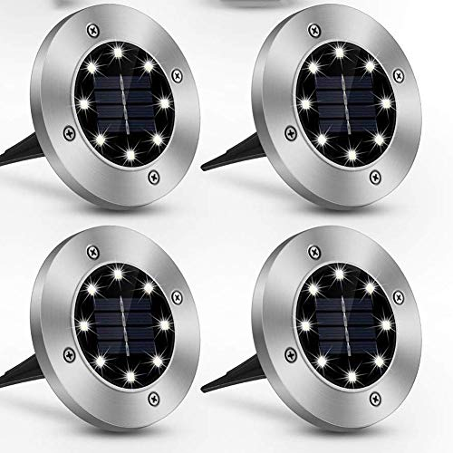Keep Luces solares de Tierra, Luces de Disco con energía Solar - 8 LED, Luces solares de Tierra Impermeables para Exteriores para Paisaje, calzada, césped, Cubiertas de escalones, Camino