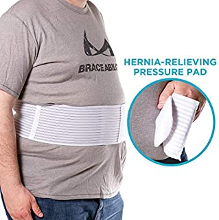 BraceAbility Hernia Belt for Men & Women | Stomach Truss Binder with Compression Support Pad for Abdominal, Umbilical, Navel & Belly Button Hernias - L/XL (New & Improved) Fits 40