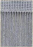 PENVEAT Cortina de Hilo de 3x2,6m Línea de Borla Brillante Cortinas Ventana Divisor de Puerta Cortina Decoración de Sala de Estar Cenefa, Gris Plateado, 250x260 cm