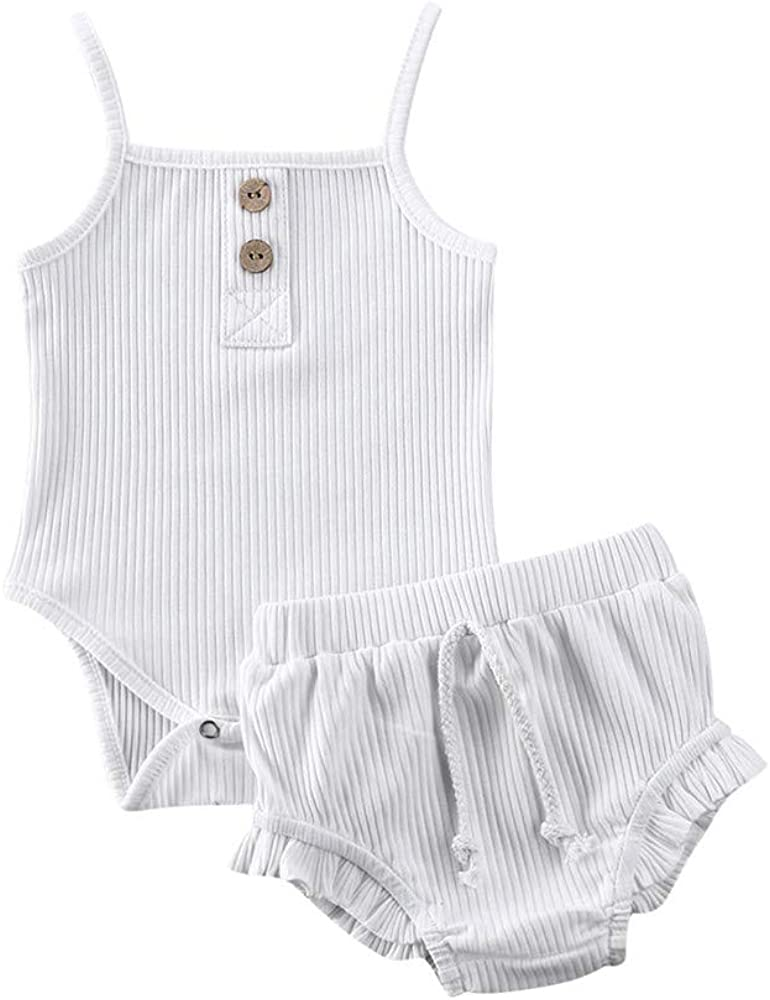 NEW Infant Baby Girl Ribbed Shorts Bodysuit Sleeveless Summer Brand Cheap Sale Venue Outfit
