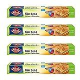 Albal película alimentos 2en 1, extra large 32cm, fácil de cortar, 20m, juego de 4, película comida y horno