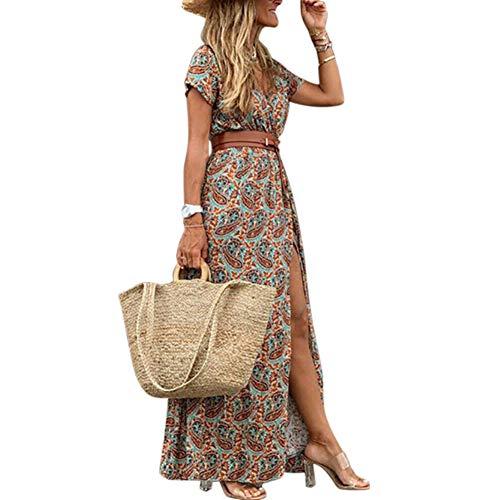 Geagodelia SK-826 - Vestido de verano largo para mujer, estilo bohemio, vintage, elegante, de manga corta, para playa, tiempo libre marrón L