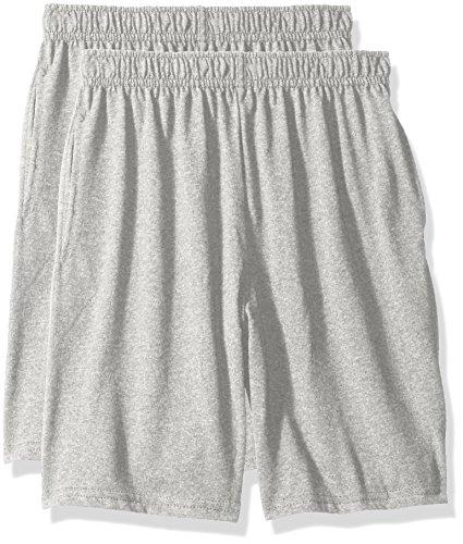 Hanes Big Boys Jersey Short (Pack of 2), Light Steel, M