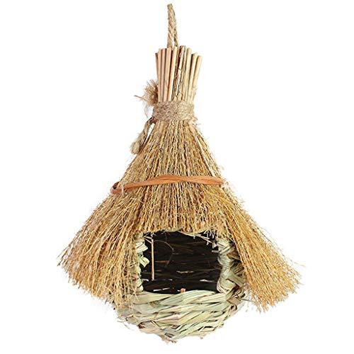 JIACUO Stroh Handgewebtes hängendes Zelt Typ Vogelnest Vogelzuchthaus All Natural