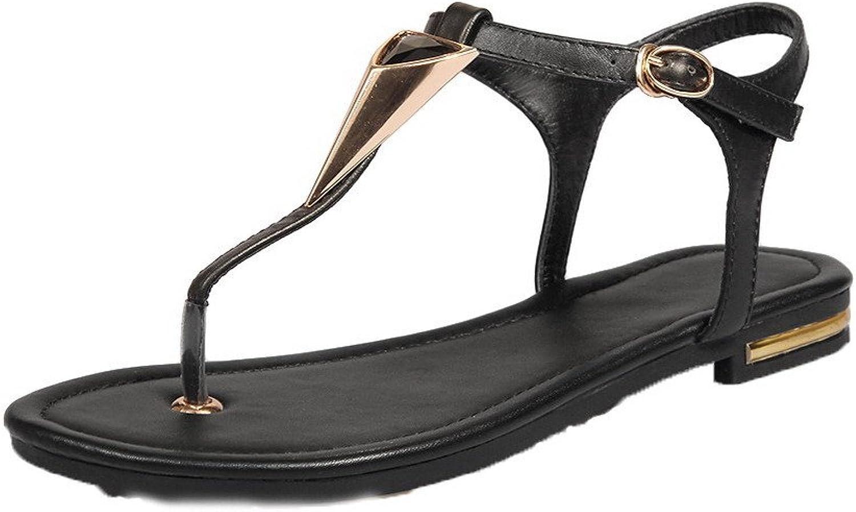 WeenFashion Women's Solid PU Low-Heels Buckle Split-Toe Sandals