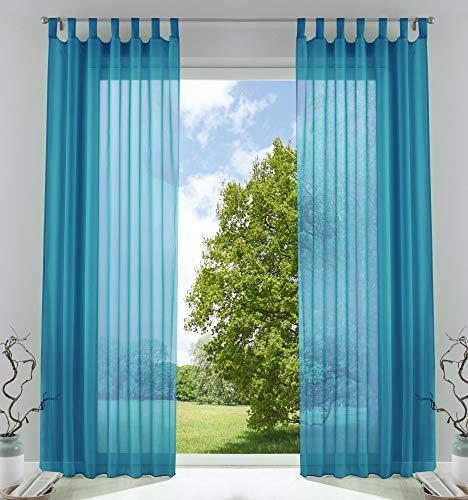 2er-Pack Gardinen Transparent Vorhang Set Wohnzimmer Voile Schlaufenschal mit Bleibandabschluß HxB 225x140 cm Türkis, 61000CN