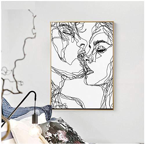 zhaoyangeng Abstracte kunst foto's voor de woonkamer modern karakter tekening Home Decor Canvas Schilderij Kunst- 50X70cm zonder lijst